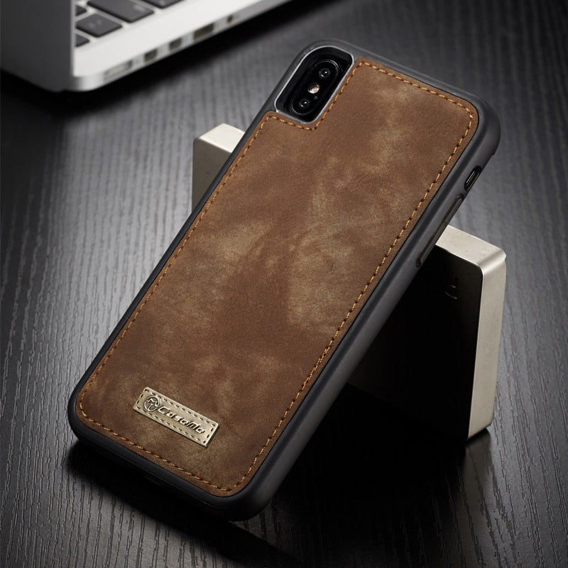 Magnetic Vintage Leather Soft TPU Silicone Back Cover For iPhone X XS MAX XR