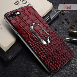 Magnetic Suction Ring Bracket Crocodile Texture Housing Phone Case For iPhone