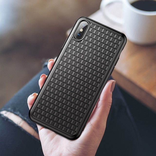 Luxury Grid Weave Soft Silicone TPU Cover For iPhone X Xs Max Xr