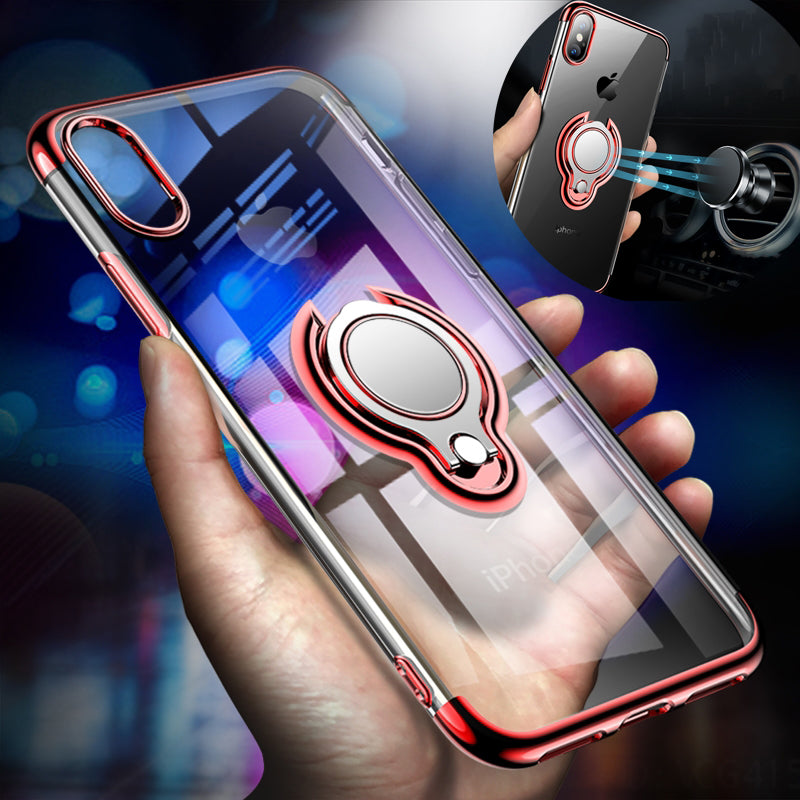 Luxury Transparent Magnetic Ring Holder Stand Cover For iphone