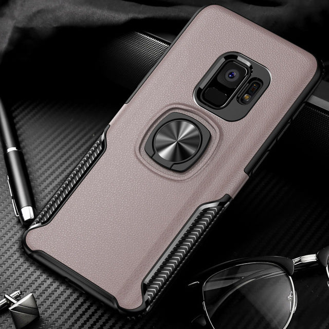 Leather Armor Hybrid Silicone Case For Samsung With Magnetic Ring Holder