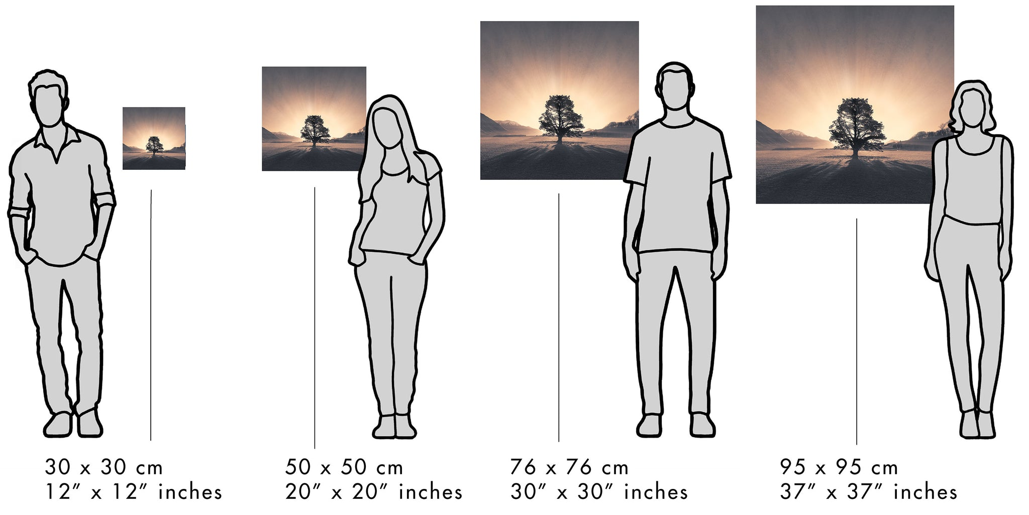 Visual size guide to compare the print or canvas sizes to people