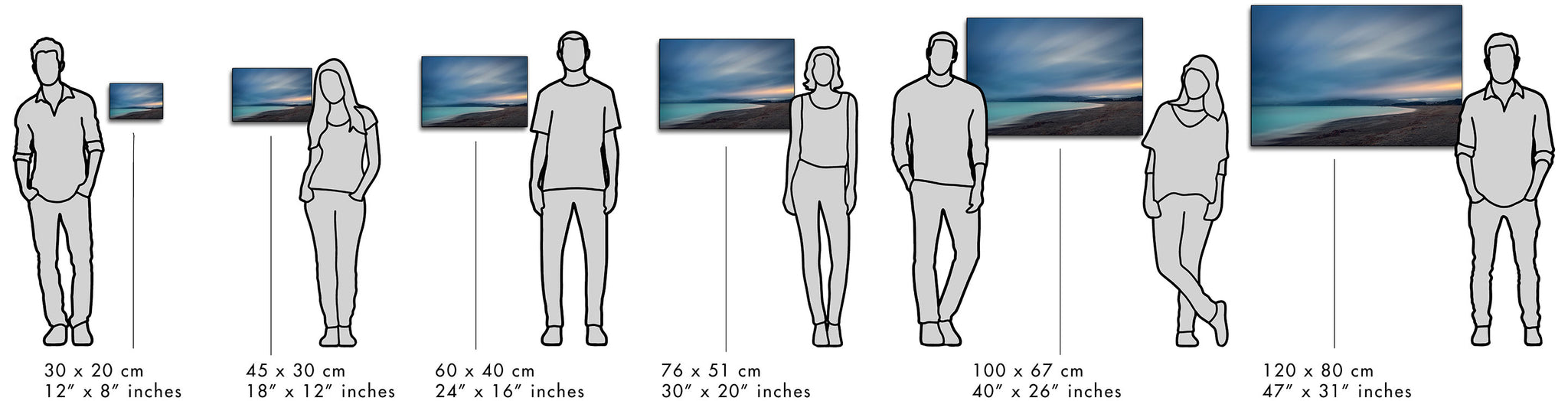 Visual guide to demonstrate the size of the prints in comparison to the size of people