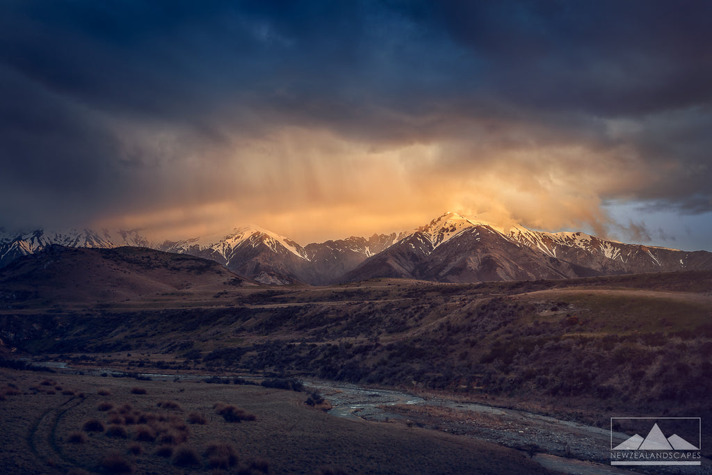 Landscape photograph of fire like sunset over mountains in New Zealand