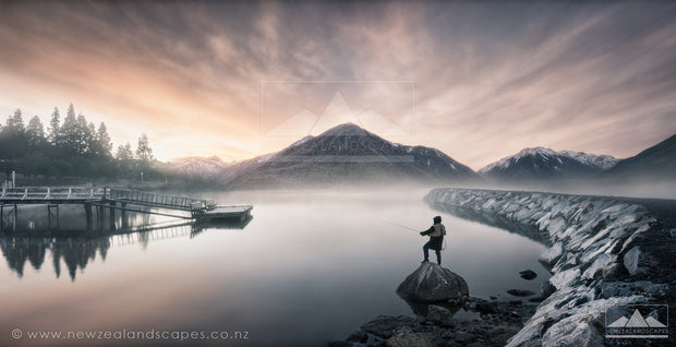 Fisherman at Lake Brunner - Newzealandscapes photo canvas prints New Zealand