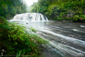 Panoramic landscape photo of Coal Creek waterfall, New Zealand