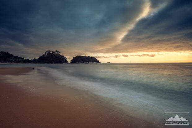 Kaiteriteri Beach, sunrise on beach in New Zealand. Canvas or photo prints.