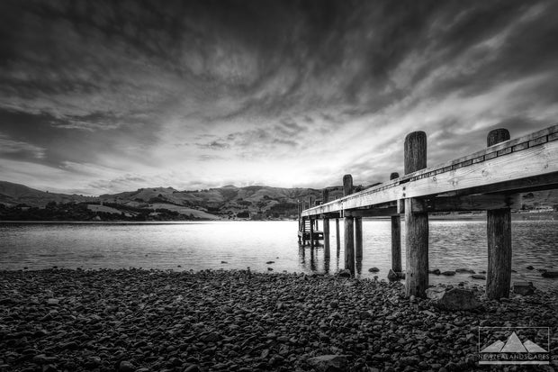 Jetty At Duvauchelle - Newzealandscapes photo canvas prints New Zealand
