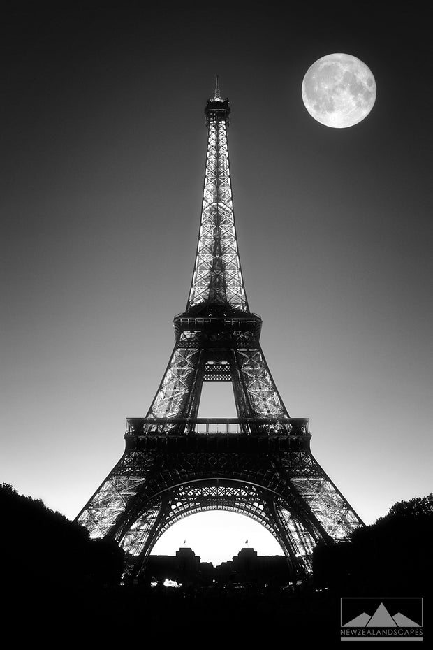 Eiffel Tower and Moon - Newzealandscapes photo canvas prints New Zealand