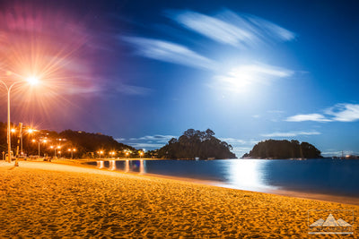 Kaiteriteri Beach, New Zealand at moonlight on canvas print wall art