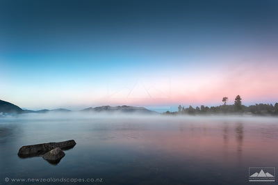 Misty Morning on Lake Brunner - Newzealandscapes photo canvas prints New Zealand