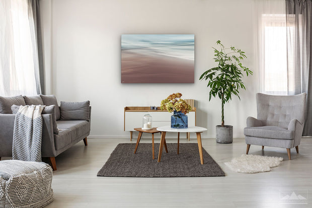 Canvas print wall art of tranquil ocean scene on living room wall