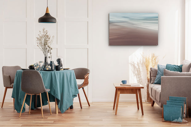 Photo print wall art of tranquil ocean scene on dining room wall