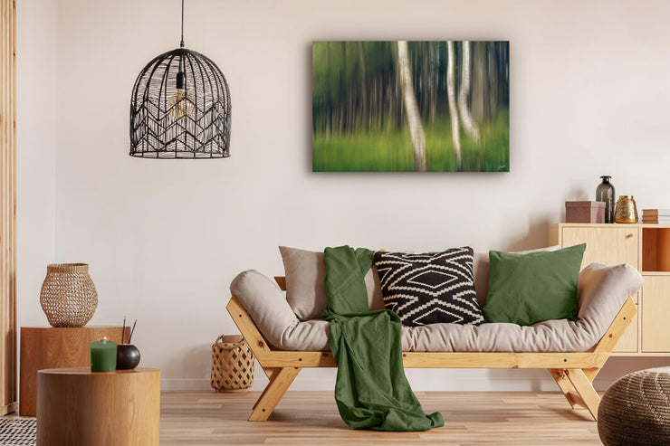 Abstract photo print of trees in a forest displayed on a lounge wall