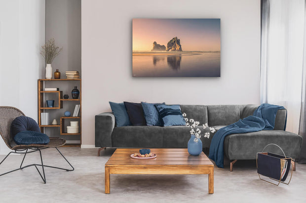Image on canvas of the Archway Island rock stack at Wharariki Beach.