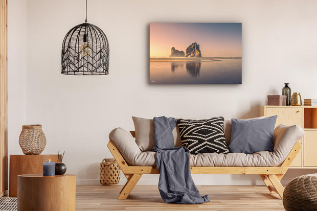 Archway Islands at sunset photo on canvas that has been displayed on a lounge wall.
