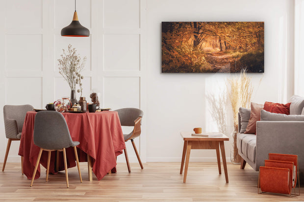 Wall art of Arrowtown in Autumn on dining room wall