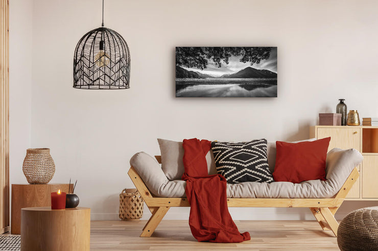 Black and white photo on lounge wall of Arthurs Pass, New Zealand
