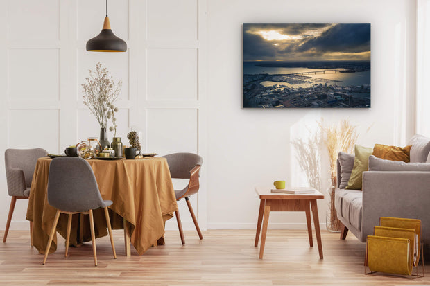 Auckland Harbour Bridge wall art on dining room interior wall