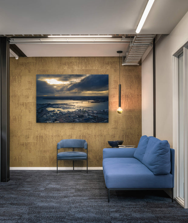 Commercial office wall space with canvas or photo print of Auckland Harbour Bridge