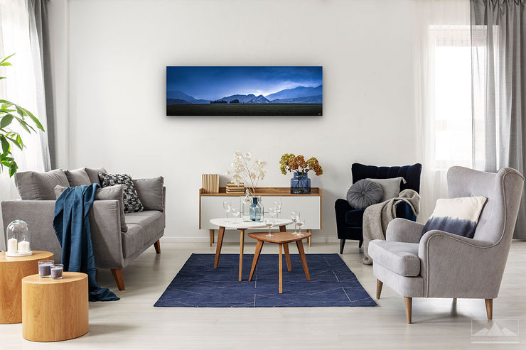 Panoramic wall art photo print depicting New Zealand mountains on a modern lounge wall