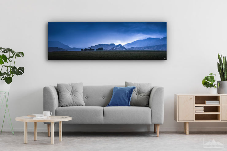 Panoramic wall art depicting New Zealand mountains on a modern home wall