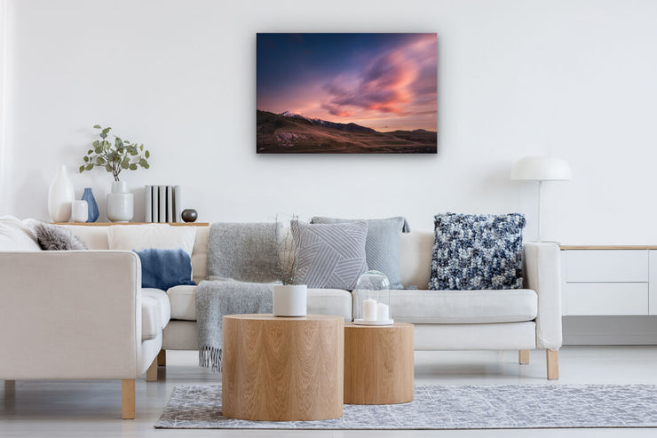 Photo wall art on lounge wall of New Zealand landscape image
