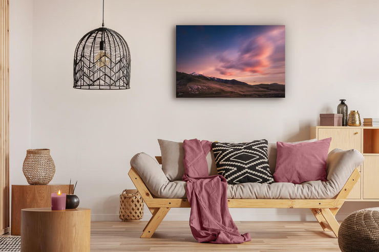 Canvas or print wall art depicted on a modern lounge wall of New Zealand scenery