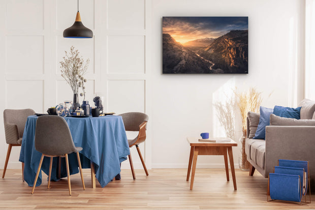 Dining room wall art on wall of canvas photo print