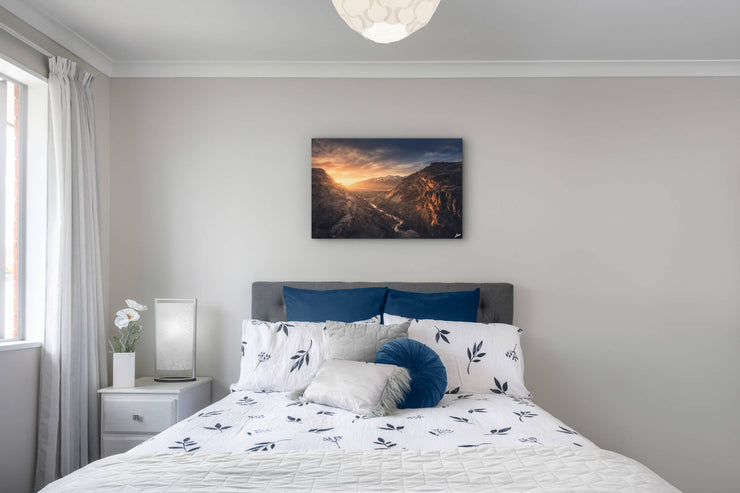 Canvas or photo print on bedroom wall in house