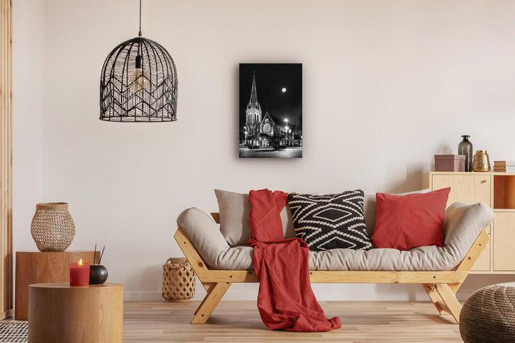 Landscape photo print up on modern lounge wall of Christchurch Cathedral at night