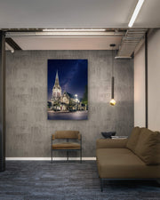 Canvas photo print on interior wall space of a commercial or office building of the Christchurch Cathedral