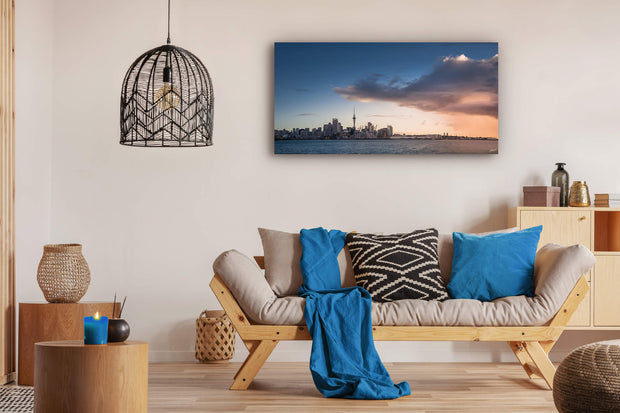 Auckland cityscape wall art print on lounge wall