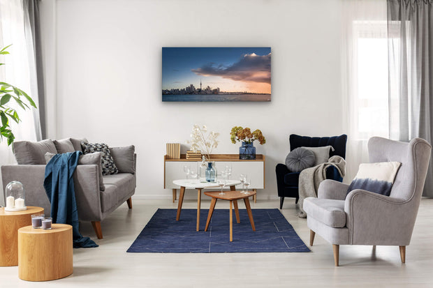 Canvas photo print of Auckland city on contemporary lounge wall