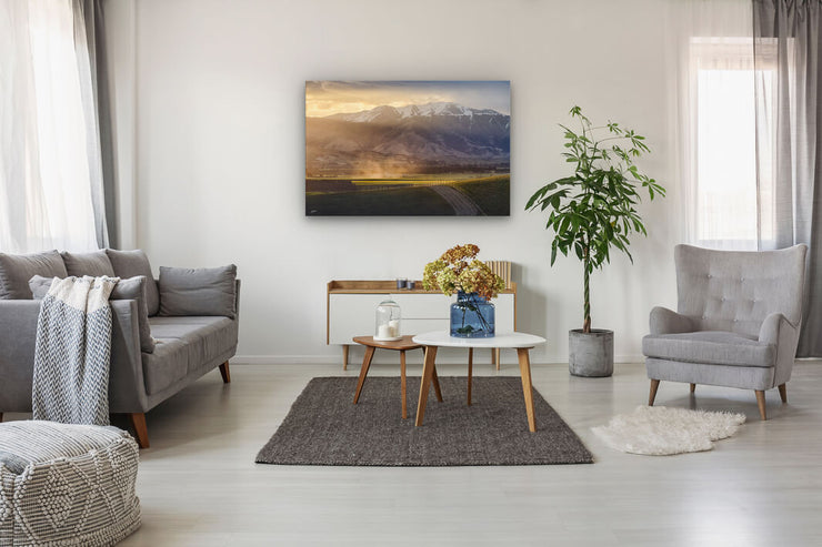 Canvas photo print of wall art on lounge wall Geraldine-Fairlie Highway