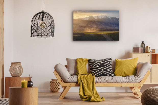 Canvas photo print of wall art on modern lounge wall Geraldine-Fairlie Highway