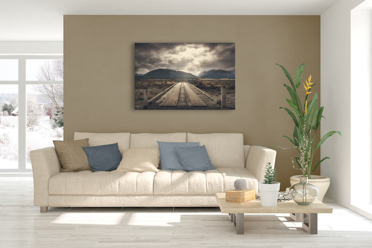 Canvas photo wall art of Old Bridge print on a lounge wall