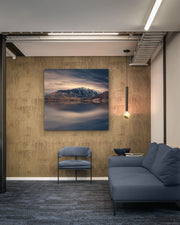 Canvas wall art photo print of The Remarkables mountain range near Queenstown on a commercial wall space