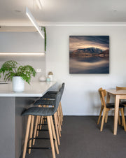 Canvas wall art photo print of The Remarkables mountain range near Queenstown on a dining room wall space