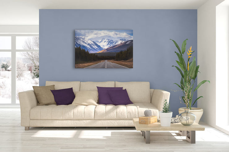 Snowy mountains landscape photo on canvas or photo print for your wall