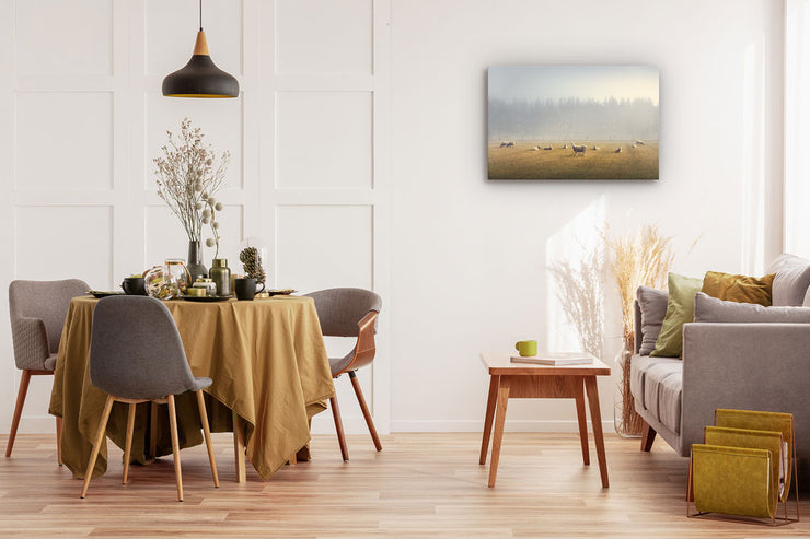 Canvas or photo wall art of sheep in a field on a dining room wall