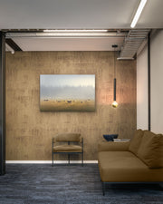 Canvas or photo wall art of sheep in a field on an office wall