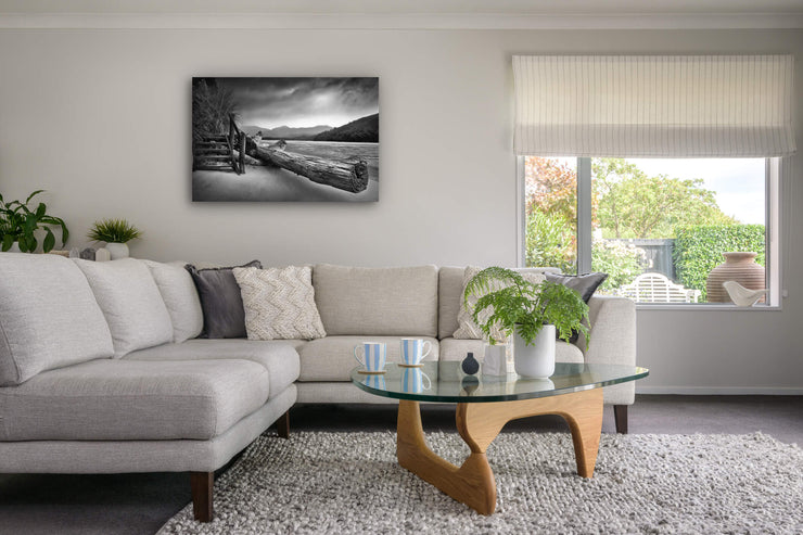 Abel Tasman photo on canvas on lounge wall. New Zealand landscape photography.