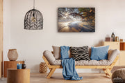 New Zealand landscape wall art canvas print of Waipu Cove beach displayed on a living room wall