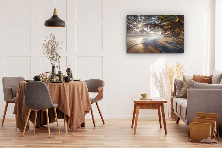New Zealand landscape wall art photo print of Waipu Cove beach displayed on a dining room wall
