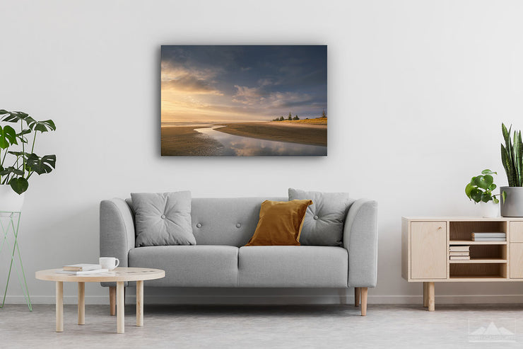 Landscape canvas wall print of Waihi Beach mounted on a modern contemporary lounge wall