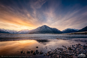 Art print of sunset and mountain reflection at Arthurs Pass, New Zealand