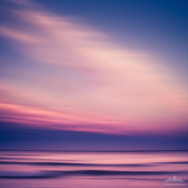 Pink and blue abstract photograph of Waikuku beach in Canterbury at sunset