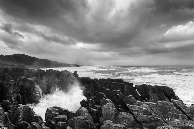 New Zealand landscape photo of Punakaiki Pancake Rocks in black and white