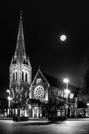 Night photo of the moon and Christchurch Cathedral before 2011 earthquake